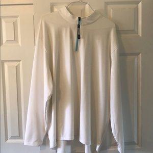 Men's longsleeve white zip up shirt